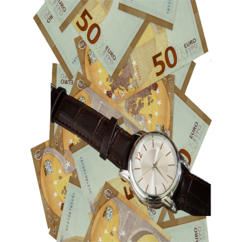50 euro bills flying down isolated on white. Many banknotes falling with white copyspace on left and right side